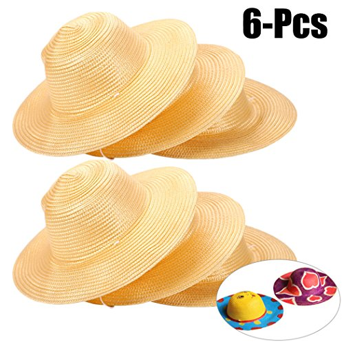 Straw Hat,Coxeer 6PCS DIY Hat Cap Beach Sun Hat Art Painting Hat DIY Straw Summer Hats for Kids Adults Party Hats Child Halloween Birthday Autumn harvest Thanksgiving -