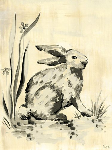 - Oopsy Daisy Toile Bunny Cream and Black Stretched Canvas Wall Art by Heather Gentile-collins, 18 by 24-Inch