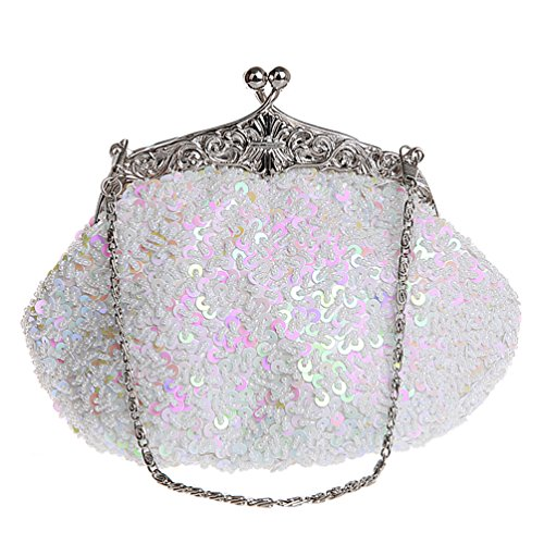 Women' Shoulder Handbag White ZAKIA Party Handmade Sequins Colorful for Bridal Wedding Beaded Clutch Bag 866Idq