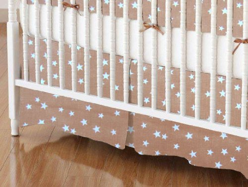 SheetWorld - Crib Skirt (28 x 52) - Cloudy Stars Camel - Made In USA