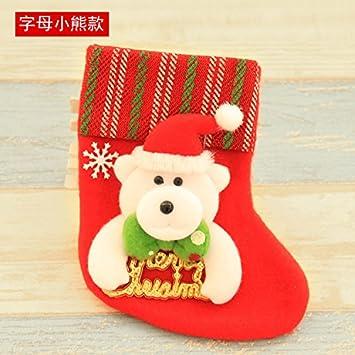 Top Shishang Pequeñas Lentejuelas Personalizadas a Mano Bordado Medias de Navidad 3D Papá Noel/Reno, Rojo, Trompeta Letra Oso Calcetines: Amazon.es: Hogar
