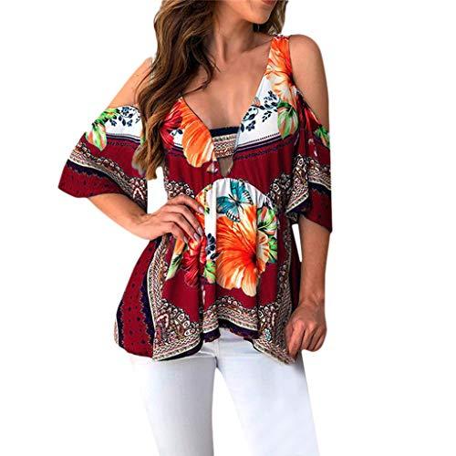 AgrinTol Summer Womens Short Sleeve Tops V-Neck Folk Custom T-Shirt Casual Tops -
