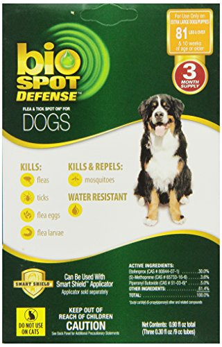 Bio Dog Spot Defense - Farnam BioSpot Defense Flea and Tick Spot Refill for Dogs over 81-Pounds