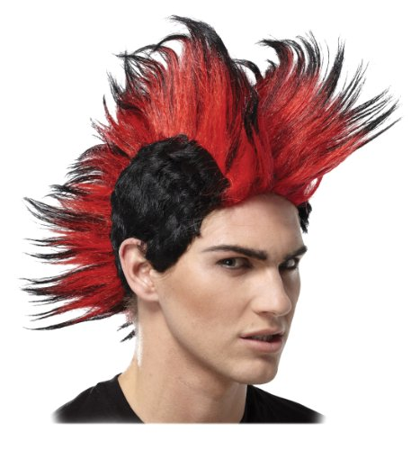 Red and Black Mohawk Wig Double Mohawk Punk Rock Theatrical Mens Costume