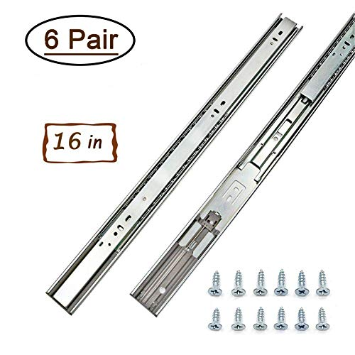 6 Pairs Soft - Close Metal Drawer Slides 16 Inch Full Extension and Ball Bearing Drawer Slides - LONTAN SL4502S3-16 Drawer Slides Heavy Duty 100lb Capacity