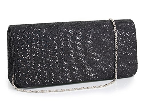 Womens Bag Prom for Clutch Purse Black Sequins Glitter Shoulder Gabrine Evening Wedding Shiny Party Handbag FtqwtdA
