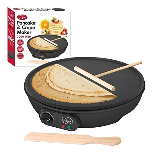 12 inches electric pancake crepe maker machine 1000 watt non stick crepe maker easily create crepes pancakes or flatbreads more easy than pan or hob ready to eat indicator cool touch handle stainless steel make ccuart Choice Image