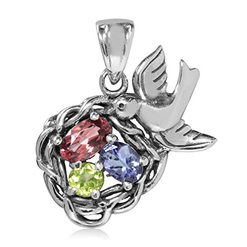(Natural Pink Tourmaline, Tanzanite & Peridot 925 Sterling Silver BIRD NEST Pendant)