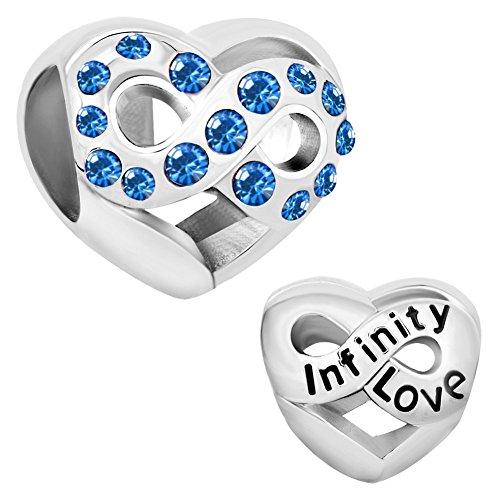 ReisJewelry Infinity Love Charm Filigree Heart Charms Beads For Bracelet (Sep Blue)