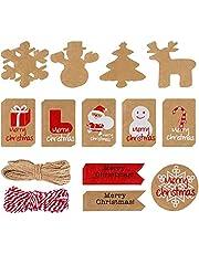 120 Parça Geri Dönüştürülebilir Noel Etiketi Kağıt Etiketler Kahverengi Etiketler Noel Kırmızı Hediye Etiketleri İpli Etiketler Hediye Paketleme Fiyat Etiketler Biyoçözünür Ambalaj Kağıdı Beyaz Noel Ambalaj Aksesuarları