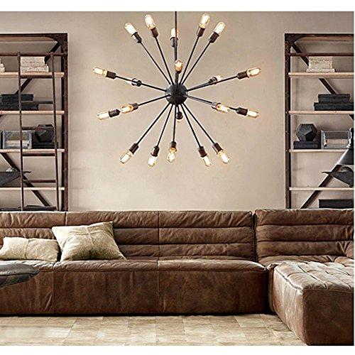 lighting for large rooms. Fuloon Vintage Edison Industrial Loft Droplight Lamp Metal Large Chandelier (Black-18 Heads) Lighting For Rooms