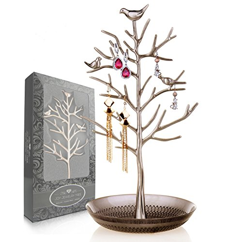 Joy Jewelry Tree | Luxurious Jewelry Stand Display Tower Rack. Size: Tall and Large (6 Inch W x 13 Inch H). Necklace Earring Bracelet Anklets Holder Organizer. Color: Antique (Bronze Zebra Sunglasses)