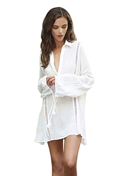 a53dac4a89 NFASHIONSO Women's Cotton Long Sleeves Blouse Beach Dress Swimsuit Cover up, White
