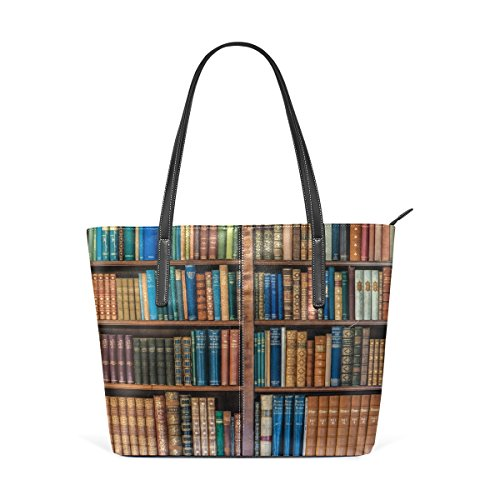 Tote Library Bookshelf Women's Purse School Handbags Handle Top Bags Satchel Bookcase Shoulder Large Bennigiry A1Bgx