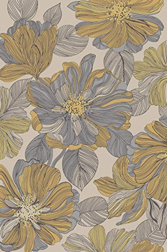 Kitchen Rugs and Mats - 18 x 31 - Non Skid, Rubber Backing, Washable, Living Room, Kids, Hallway, Entryway - Yellow Grey Ivory Floral - Doormat