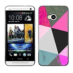 Mint Patrón Polígono Arte Azul Rosa 3D- Metal de aluminio y de plástico duro Caja del teléfono - Negro - HTC One M7