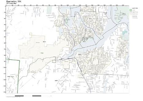 Bremerton Wa Zip Code Map.Amazon Com Zip Code Wall Map Of Bremerton Wa Zip Code Map Not