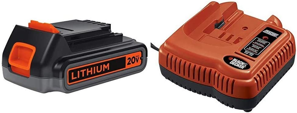 BLACK+DECKER 20V MAX Lithium Battery 2.0 Amp Hour with Battery Charger, 9.6V to 24V (LBXR2020-OPE & BDFC240)