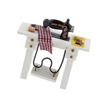 MagiDeal 1:12 Casa De Muñecas Máquina de Coser Miniatura Pedal