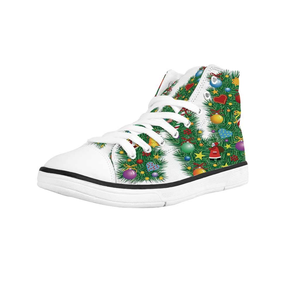 Letter M Comfortable High Top Canvas Shoes,Vegan Typescript with Ripe Fresh Red Summer Fruit Realistic Display for Women Girls,US 5
