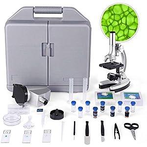 TELMU Microscopio - Ingrandimento di 300X-600X-1200X, Microscopio Bambini con 70+ pezzi kit di Accessori, con Braccio e… 51Bi6vi08DL. SS300