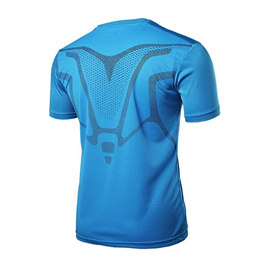 Manches Fitness Col Sport Homme De V Bleu Courtes Acmede Respitant Rapide Running Séchage shirt T xYzqIn0