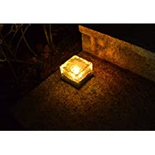 """Lightess 2.8"""" x 2.8"""" Frosted Glass Solar Brick Paver Light with 1 LED (Warm White)"""