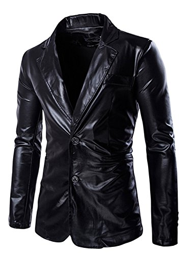 ZEROYAA Mens Geek Design Metallic Silver Blazer/Party Suit Jacket Black 3X-Large,US XL