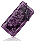 PIJUSHI Floral Wallet Genuine Leather Long Clutches Card Holder Purse (91853 Violet)