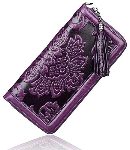 (PIJUSHI Leather Wallets for Women Floral Wristlet Wallet Card Holder Purse (91853 Violet))