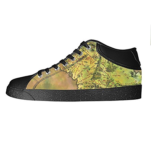 Scarpe Lacci Canvas Shoes Del Sopra Mappa Ginnastica Alto Di Men's Delle In Tela Le Mondo Da Custom I x0qzIwRgx