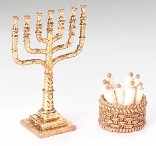 "4 Fontanini 5"" Nativity Village Basket of Scrolls & Candelabra Sets #59530"