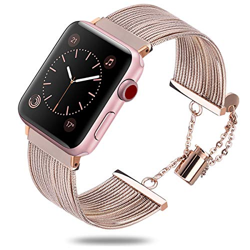 TOROTOP Compatible with Apple Watch Band 38mm Women Men, Eye-Catching Classy Stainless Steel Tassel Chain Band Metal Bracelet Cuff Bangle Compatible for iWatch Series 4,3,2,1(Copper,38mm) ()