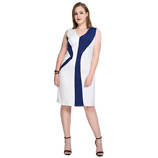 87c18c9be6c8 YuHao Clothing Women's V-Neck Splicing Fit Cocktail Tight-Fitting Pencil Knee  Dress Large