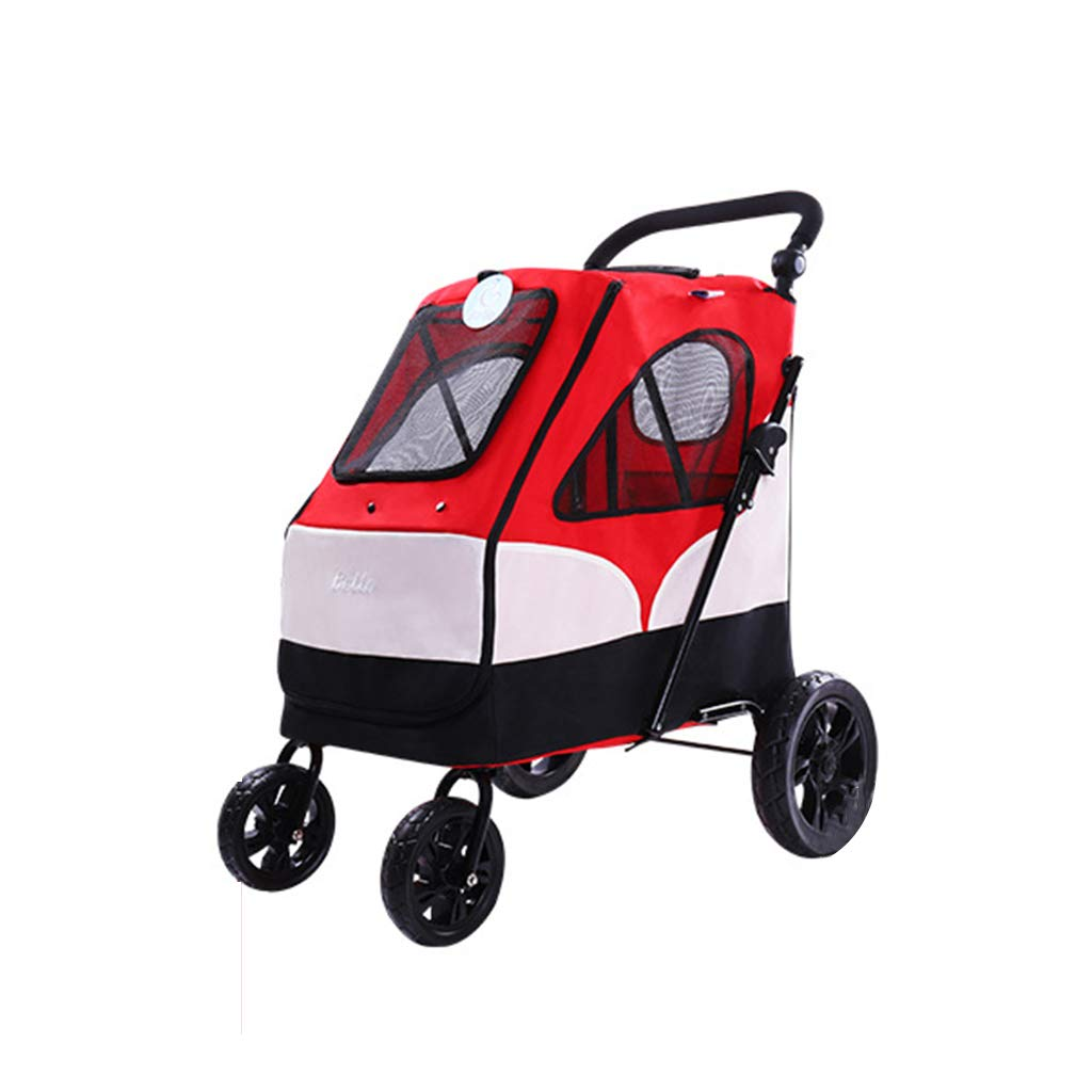 RED Pet Stroller Four-Wheeled Dog Trolley Folding Large Space Bearing 55KG for Outbound Use (color   RED)