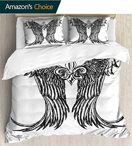 Medieval Cotton Bedding Sets,Tribal Wing Design Magic Spell Middle Ages Symbol of Power Artistic Design Print Queen 1 Duvet Cover 2 Pillowcases Wrinkle Fade Resistant 90