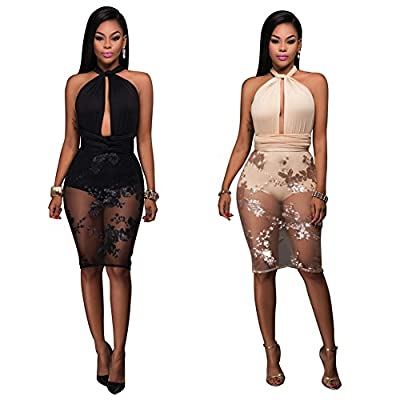 Women's Girls Sexy Halter Cut Out Backless Sequins Bodycon Party Club Midi Dress