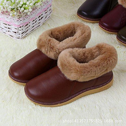 Coffee Chaud Tendon Hiver Pantoufles PU Sac Coffee Coton Hiver Tendon Couple Avec Chaussures Nouveau Fin Broderie Épais Accueil waOqIY