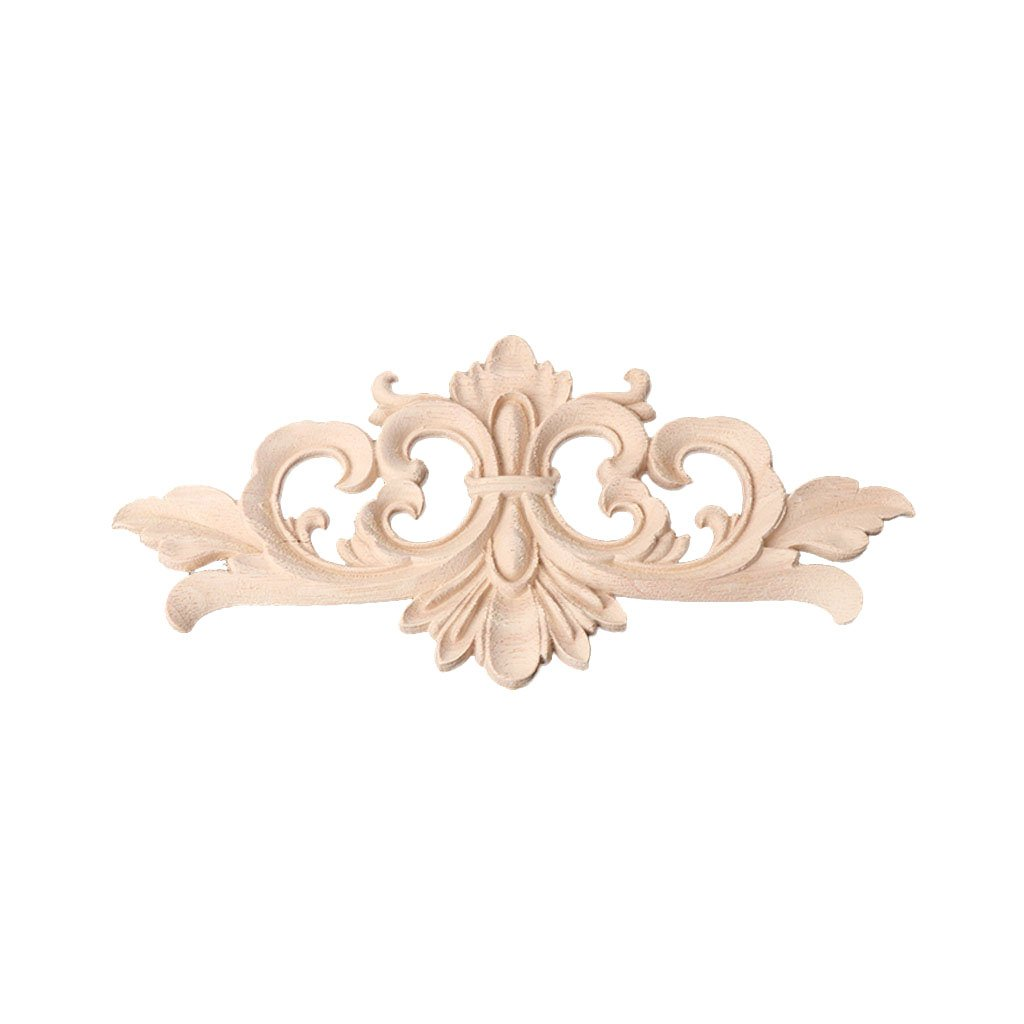 BloomingJS Wood Carved Corner Onlay Applique Frame Decoration Furniture Unpainted Home