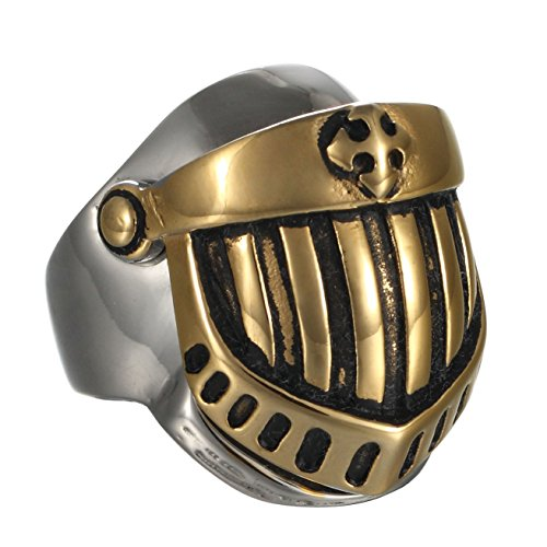 Mowen Jewelry Well polished Medieval Crusader Templar Knight Helmet 316L Stainless Steel Mens Warrior Ring (7)