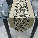 "79""X13"" Raised Flower Blossom Flocked Damask Table Runner Cloth Wedding Decor P5 Main Color:Beige"