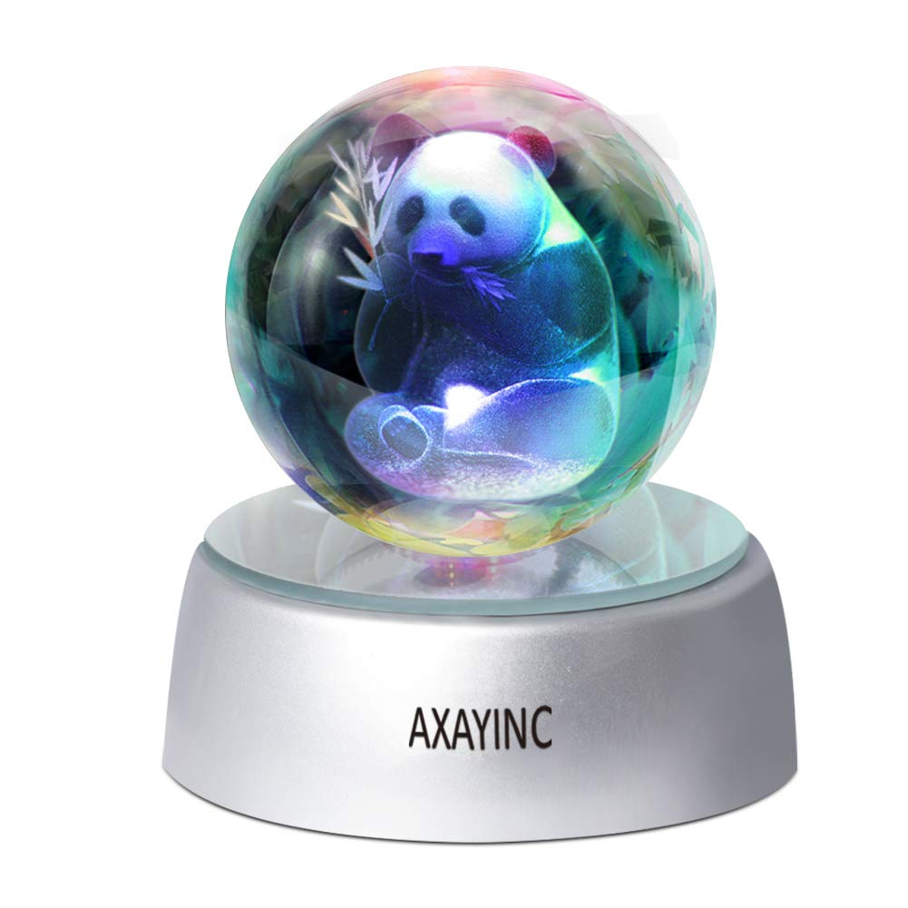 3D Crystal Ball Fancy LED Lighting with Base, Advanced Laser Engraving, Ideal Present for Kids, Friends, Perfect for Home, Offices, Bars Decor etc. - 50mm (Panda)