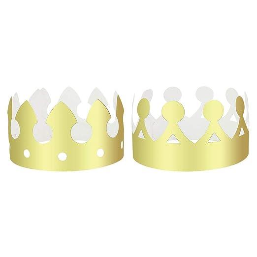DECARETA - 24 sombreros de fiesta con corona de papel dorado ...