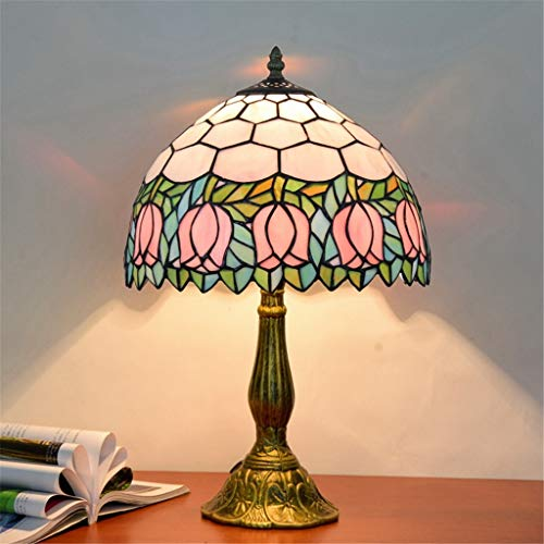 12-inch Elegant Luxury Table Lamp Retro Table Lamp Stained Glass Lamp Bedside Lamp Tulip Pattern Lamp - Ideal for Bedside&Bedroom Use ()