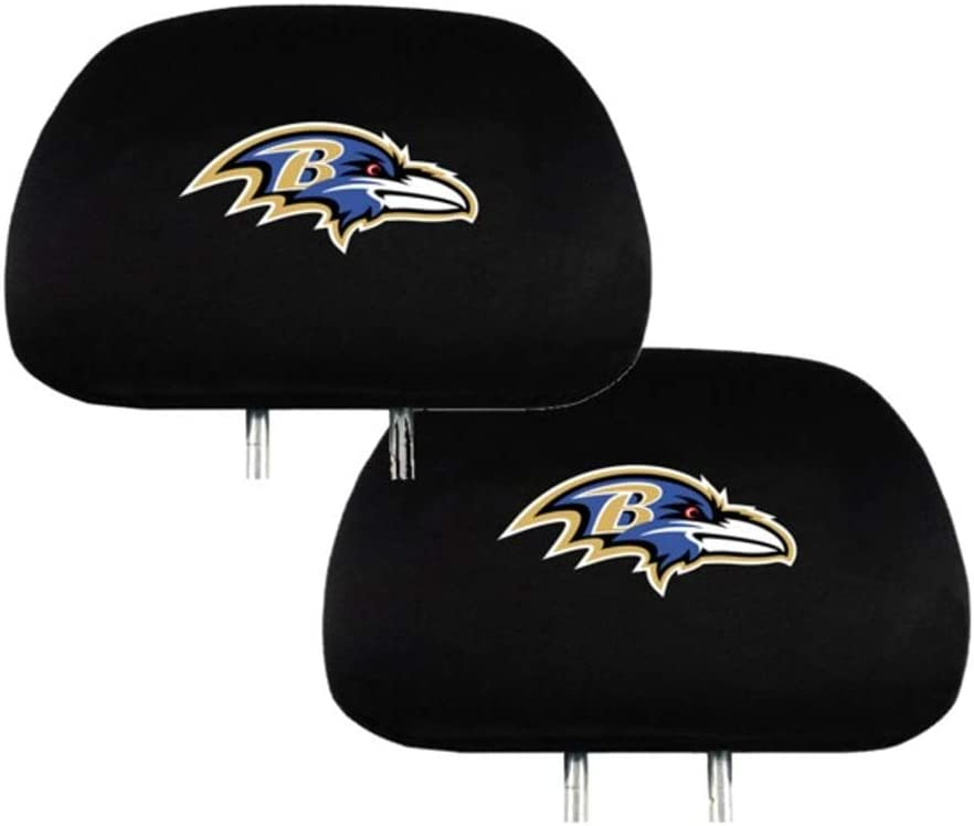 Las Vegas Raiders Nobrand Set of 2 for Las Vegas Raiders Headrest Covers Luxury Black Fabric HeadRest Cover with Printed Las Vegas Raiders Logo,Universal Fits to All Car Models