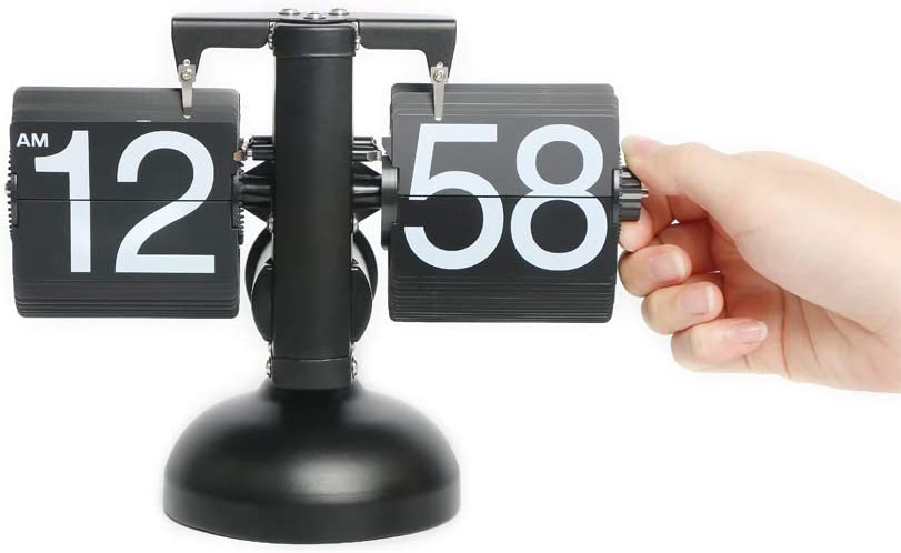 Shelf Scale Style Battery Powered Desk Flip Clock Home D/écor Desk Clock Retro Auto Flip Down Digital Clocks for Living Room D/écor Stainless Steel Vintage Clock Scale Retro Black Bedroom