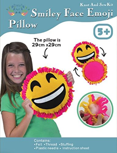 Big Smile Face, Emoji, Sew and Stuff Kit. Felt Pillow Ideal Kids Craft Kit Includes all Supplies. Fun Activity. Ages 5-12. All Inclusive Arts and Crafts, w/ Vibrant Colors Ideal Rainy Day Activity ()