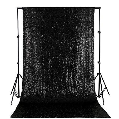 QueenDream Sequin Backdrop 4ftx6.5ft Black Sequin Party Backdrop Rectangular Black Backdrop Curtain