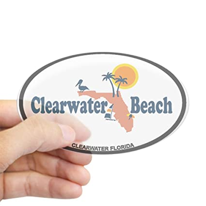 Clearwater Florida Map.Amazon Com Cafepress Clearwater Fl Map Design Sticker Oval
