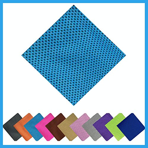 X-Treme (Light Blue) Microfiber Cooling Towel ( 11 Colors ) 100% Microfiber Sports, Non Slip, Light, Quick-dry, Yoga Cooling Bamboo Towel, Exercise Workout - Running, Pilates ( New Arrival 2017 )